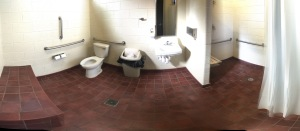 A pano of the bathroom. Lord, they were hot. But, relatively clean for as busy as it was.